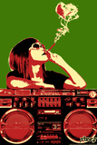 Steez Boom Box Joint - Red/Green Plastic Sign Wall Sign by  Steez