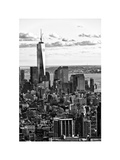 Landscape Sunset View, One World Trade Center, Manhattan, New York, White Frame Photographic Print by Philippe Hugonnard
