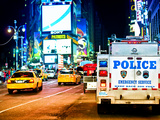 Yellow Cabs and Police Truck at Times Square by Night, Manhattan, New York, US, Colors Night Photographic Print by Philippe Hugonnard