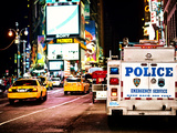 Yellow Cabs and Police Truck at Times Square by Night, Manhattan, New York, US, Vintage Colors Photographic Print by Philippe Hugonnard