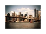 Skyline of NYC with One World Trade Center and East River, Manhattan and Brooklyn Bridge, Vintage Photographic Print by Philippe Hugonnard