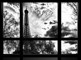 Window View, Special Series, Eiffel Tower View, Paris, France, Europe, Black and White Photography Photographic Print by Philippe Hugonnard