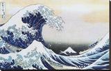Den store bølgen ved Kanagawa, ca. 1829 Trykk på strukket lerret av Katsushika Hokusai