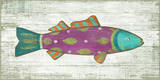 Funky Fish 4 Pink Wood Sign Wood Sign