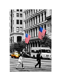 Crosswalk with Yellow Taxis and American Frags, Manhattan, New York, White Frame Photographic Print by Philippe Hugonnard
