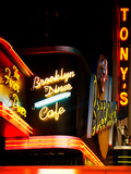 American Brooklyn Diner Cafe at Times Square by Night, Manhattan, NYC, US, USA, Vintage Colors Photographic Print by Philippe Hugonnard