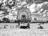 Vintage Beach, Black and White Photography, Wonder Wheel, Coney Island, Brooklyn, New York, US Photographic Print by Philippe Hugonnard