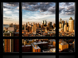 Window View, Landscape at Sunset, Theater District and Hell's Kitchen Views, Manhattan, New York Photographic Print by Philippe Hugonnard