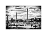Place De La Concorde with Ancient Obelisk, Hotel Crillon and the Ministry of the Navy, Paris Photographic Print by Philippe Hugonnard