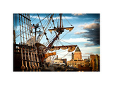 El Galeon at Sunset, Authentic Replica of 17th Century Spanish Galleon at Pier 84, New York Photographic Print by Philippe Hugonnard