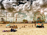 Vintage Beach, Wonder Wheel, Coney Island, Brooklyn, New York, United States Photographic Print by Philippe Hugonnard