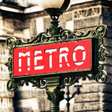 Classic Art, Metro Sign at the Louvre Metro Station, Paris, France Photographic Print by Philippe Hugonnard