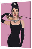 Audrey Hepburn - Pink Stretched Canvas Print