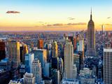 Empire State Building and One World Trade Center at Sunset, Midtown Manhattan, New York City Reprodukcja zdjęcia autor Philippe Hugonnard