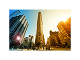 Cityscape Sky and Sun Colors, Flatiron Building, 5th Ave, Manhattan, New York, White Frame Photographic Print by Philippe Hugonnard