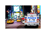 Yellow Cabs and Police Truck at Times Square by Night, Manhattan, New York, White Frame Photographic Print by Philippe Hugonnard