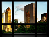 Window View, Architecture and Buildings at Sunset, Central Park Buildings, Manhattan, New York Photographic Print by Philippe Hugonnard