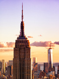 Sunset View, Empire State Building and One World Trade Center (1Wtc), Manhattan, NYC, US, Colors Photographic Print by Philippe Hugonnard