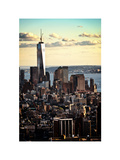 Landscape Sunset View, One World Trade Center, Manhattan, New York, White Frame, Color Sunset Photographic Print by Philippe Hugonnard