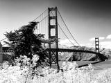 Landscape, Golden Bridge, Black and White Photography, San Francisco, California, United States Fotografie-Druck von Philippe Hugonnard