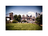 Skyline of Manhattan, Brooklyn Bridge Park, Vintage Colors and White Frame, NYC Photographic Print by Philippe Hugonnard