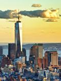 The One World Trade Center (1Wtc) at Sunset, Manhattan, New York, United States Papier Photo par Philippe Hugonnard