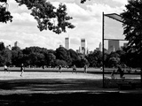 Baseball Game in Central Park, Manhattan, New York City, Black and White Photography Photographic Print by Philippe Hugonnard