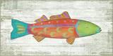 Funky Fish 1 Orange Wood Sign Wood Sign