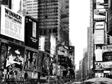 Landscape of Times Square, Advertising Views, Manhattan, NYC, US, USA, Black and White Photography Photographic Print by Philippe Hugonnard
