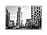 Black and White Photography Landscape of Flatiron Building and 5th Ave, Manhattan, NYC, White Frame Photographic Print by Philippe Hugonnard