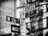 Signpost, Fashion Ave, Manhattan, New York City, United States, Black and White Photography Stampa fotografica di Philippe Hugonnard