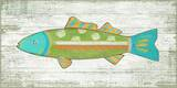 Funky Fish 3 Green Wood Sign Wood Sign