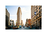 Vintage Colors Landscape of Flatiron Building and 5th Ave, Manhattan, NYC, White Frame Photographic Print by Philippe Hugonnard