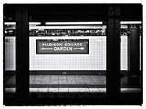 Subway Sign, Black and White Photography, Madison Square Garden, Manhattan, New York, United States Fotografisk tryk af Philippe Hugonnard