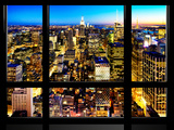 Window View, Landscape Manhattan City, Empire State Building, Manhattan, New York City Photographic Print by Philippe Hugonnard