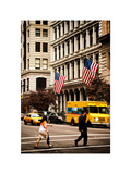 Crosswalk with Yellow Taxis and American Frags, Manhattan, New York, White Frame, Vintage Photographic Print by Philippe Hugonnard