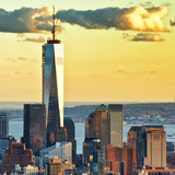 The One World Trade Center (1Wtc) at Sunset, Manhattan, New York, United States, Square Photographic Print by Philippe Hugonnard