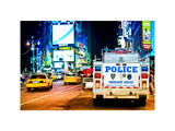 Yellow Cabs and Police Truck at Times Square by Night, Manhattan, New York, Colors Night Photographic Print by Philippe Hugonnard