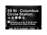 Subway Station Signs, 59 Street Columbus Circle Station, Manhattan, NYC, White Frame Photographic Print by Philippe Hugonnard