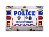 Police Truck, Police Department City of New York, Nypd, US, USA, White Frame, Full Size Photography Photographic Print by Philippe Hugonnard