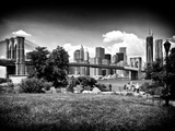 Skyline of Manhattan, Black and White Photography, Brooklyn Bridge Park, New York City, US Photographic Print by Philippe Hugonnard