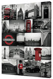 London - Red Collage Stretched Canvas Print