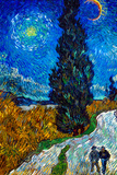 Vincent Van Gogh Country Road in Provence by Night Poster Poster by Vincent van Gogh