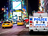 Yellow Cabs and Police Truck at Times Square by Night, Manhattan, New York, United States, USA Photographic Print by Philippe Hugonnard