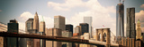 Skyline of NYC with One World Trade Center and East River, Vintage, Manhattan and Brooklyn Bridge Photographic Print by Philippe Hugonnard