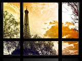 Window View, Special Series, Eiffel Tower at Sunset, Paris, France, Europe Stampa fotografica di Philippe Hugonnard