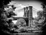 Brooklyn Bridge View of Brooklyn Park, B/W, Manhattan, New York, United States Photographic Print by Philippe Hugonnard