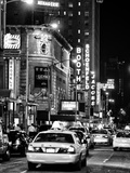 Urban Scene with Yellow Cab by Night at Times Square, Manhattan, NYC, Black and White Photography Photographic Print by Philippe Hugonnard
