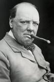 Winston Churchill Smoking Cigar Plastic Sign Wall Sign