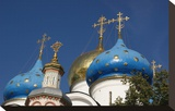 Cupolas of Assumption Cathedral at Trinity Lavra of St. Sergius, Sergiyev Posad, Moskow, Russia Stretched Canvas Print